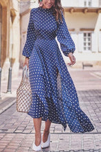Load image into Gallery viewer, Fashion Round Collar Blue Dot Slit Maxi Dress