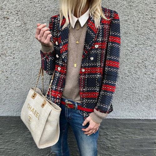 Warm Casual Loose Plaid Woolen Blazer