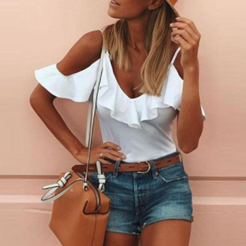 Open Shoulder Spaghetti Strap  Flounce  Plain T-Shirts