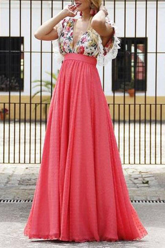 Stylish Pink V Neck Floral Print Maxi Dress