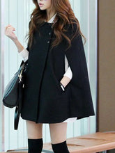 Load image into Gallery viewer, Collarless Pocket Plain Woolen Cape Sleeve Coat