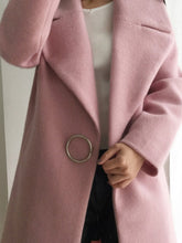 Load image into Gallery viewer, Lapel Single Button Plain Pocket Woolen Coat
