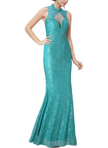 Net Yarn Perspective Sexy Fishtail Evening Dress