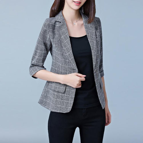 Fashion Casual Plaid 3/4 Sleeve Slim Blazer