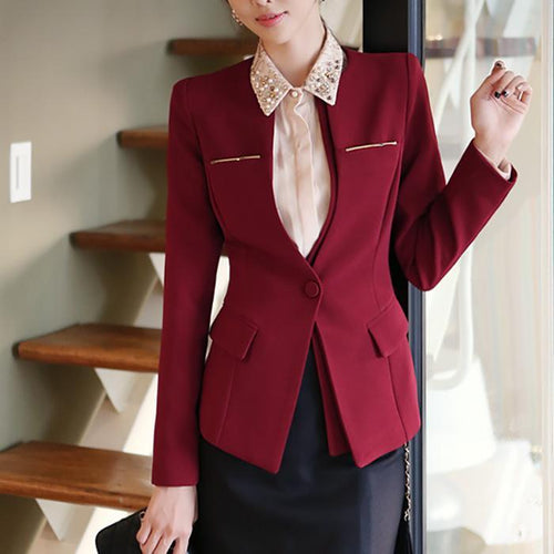 Elegant Pure Color Doll Collar Long-Sleeved  Blazer