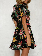 Load image into Gallery viewer, Black V Neck Random Elegant Floral Print Spliced Dress