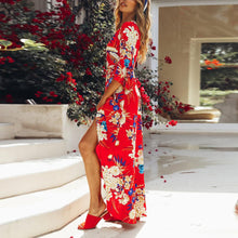 Load image into Gallery viewer, Red Random Half Sleeves Floral Print Maxi Dress