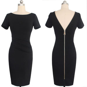 Sexy Round Collar Pure Color Backless Slim Midi Work Dress