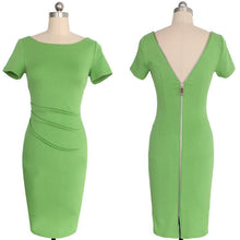 Load image into Gallery viewer, Sexy Round Collar Pure Color Backless Slim Midi Work Dress