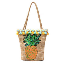 Load image into Gallery viewer, Pineapple Straw Sequin Beach Hand Bag