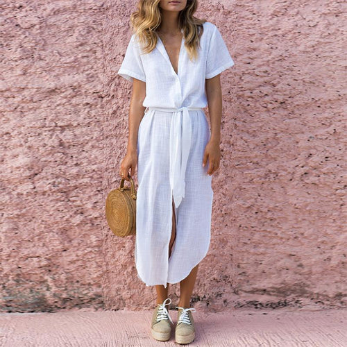 Deep V Buttons Down Long Shirt Maxi Dress