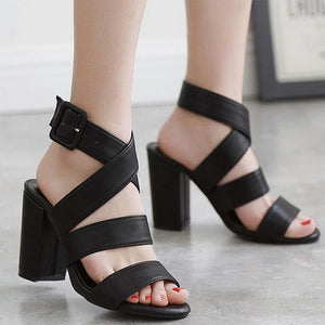 Retro British Roman Thick Heel Open-Toed Sandals