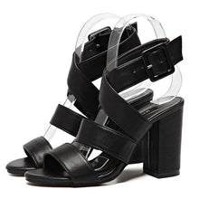 Load image into Gallery viewer, Retro British Roman Thick Heel Open-Toed Sandals