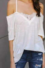 Load image into Gallery viewer, Fashion Lace Off Shoulder Short Sleeves Blouse