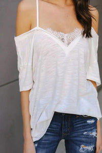 Fashion Lace Off Shoulder Short Sleeves Blouse