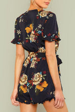 Load image into Gallery viewer, Floral Print V Neck Sexy Short Sleeve Romper