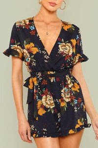 Floral Print V Neck Sexy Short Sleeve Romper