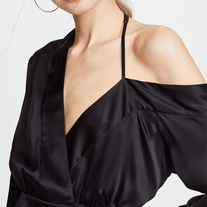 Fashion Sexy Strapless Pure Color Blouse