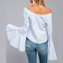 Load image into Gallery viewer, Stylish Off Shoulder Stripe Button Up Blouse