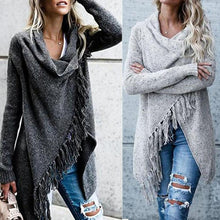 Load image into Gallery viewer, Knit Cardigan Irregular Tassel Shawl Sweater