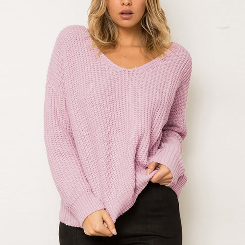 Sexy Backless V-Neck Fashion Sweater