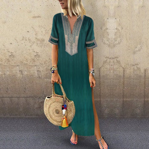 Sexy Side Split V Neck Printed Casual Vintage Maxi Dresses