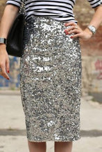 Load image into Gallery viewer, Elegant Business Paillette Bodycon Skirt