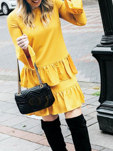 Round Neck Ruffle Long Sleeve Skater Dress