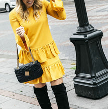 Load image into Gallery viewer, Round Neck Ruffle Long Sleeve Skater Dress