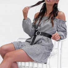Load image into Gallery viewer, Off Shoulder Autumn Long Sleeve Plaid Mini Dress