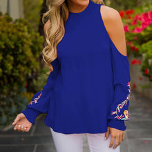 Load image into Gallery viewer, Off Shoulder Floral Embroidery Long Sleeve Blouse