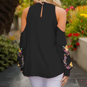 Off Shoulder Floral Embroidery Long Sleeve Blouse