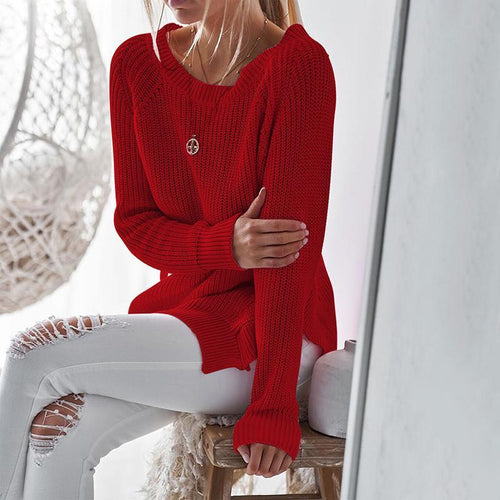 Round Neck Hem Slit Sweater