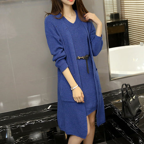 Knitwear V-Neck Slim Fashion Sweater Cardigan Two-Piece Set