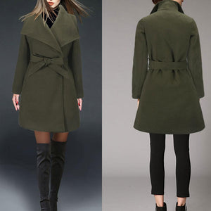 New Slim Solid Color Wool Coat