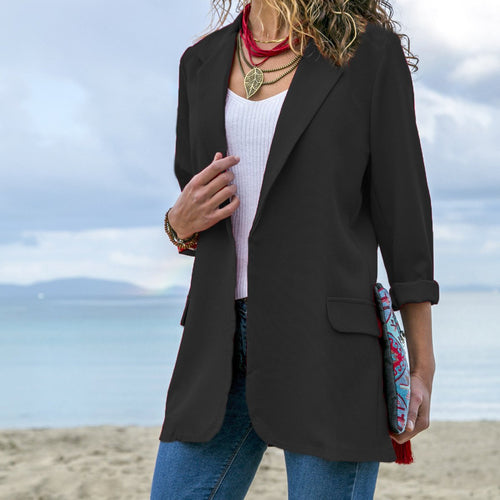 Slim Solid Outerwear Long Sleeve Women Blazer