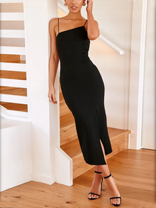 Sexy Sling Sleeveless Solild Color Backless Split Dress