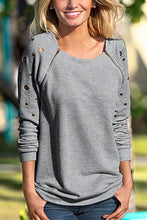 Load image into Gallery viewer, Round Neck  Zipper  Plain  Sweatshirts