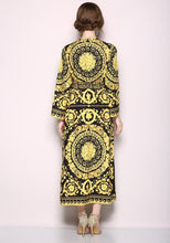 Load image into Gallery viewer, Retro V-Collar Court Print Leopard Lace Loose Maxi Dress
