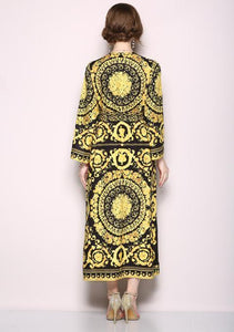Retro V-Collar Court Print Leopard Lace Loose Maxi Dress