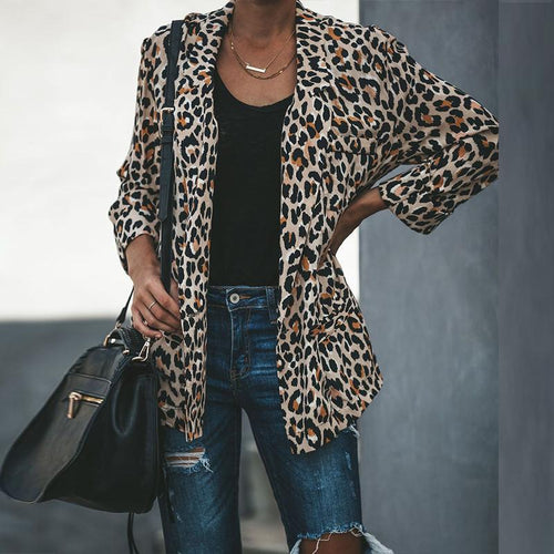 Leopard Printed Lapel Long Sleeve coat Fashion Blazers