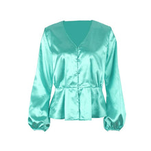 Load image into Gallery viewer, Autumn Long Sleeve Sexy V Neck Satin Blouse