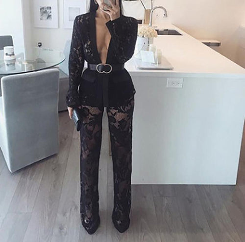 Lace Sexy Cardigan Long Sleeve Suit