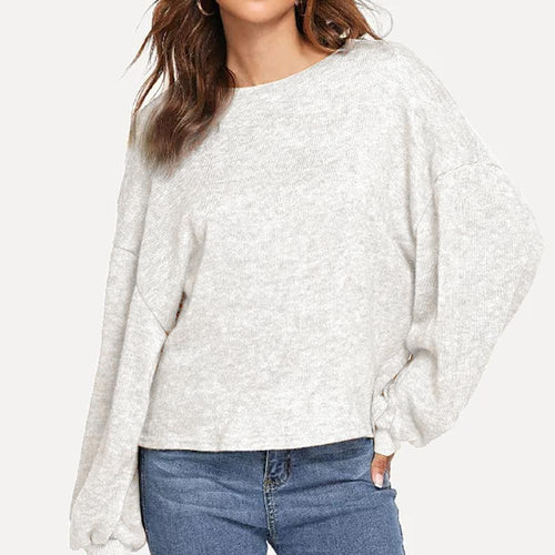 Winter Round Neck Loose Lantern Sleeve Sweater