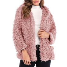 Load image into Gallery viewer, Fashion Long Sleeve Warm Plush Loose Cardigan Hooded Short Coat