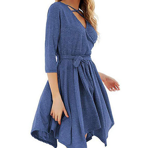 Autumn Sexy V Neck Lace Casual Dress