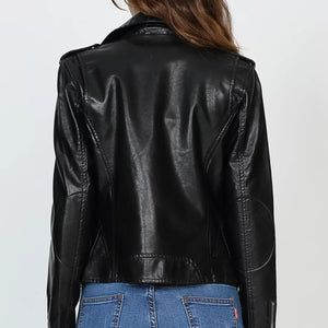 Fashion PU Leather Lapels Slim Female Jacket