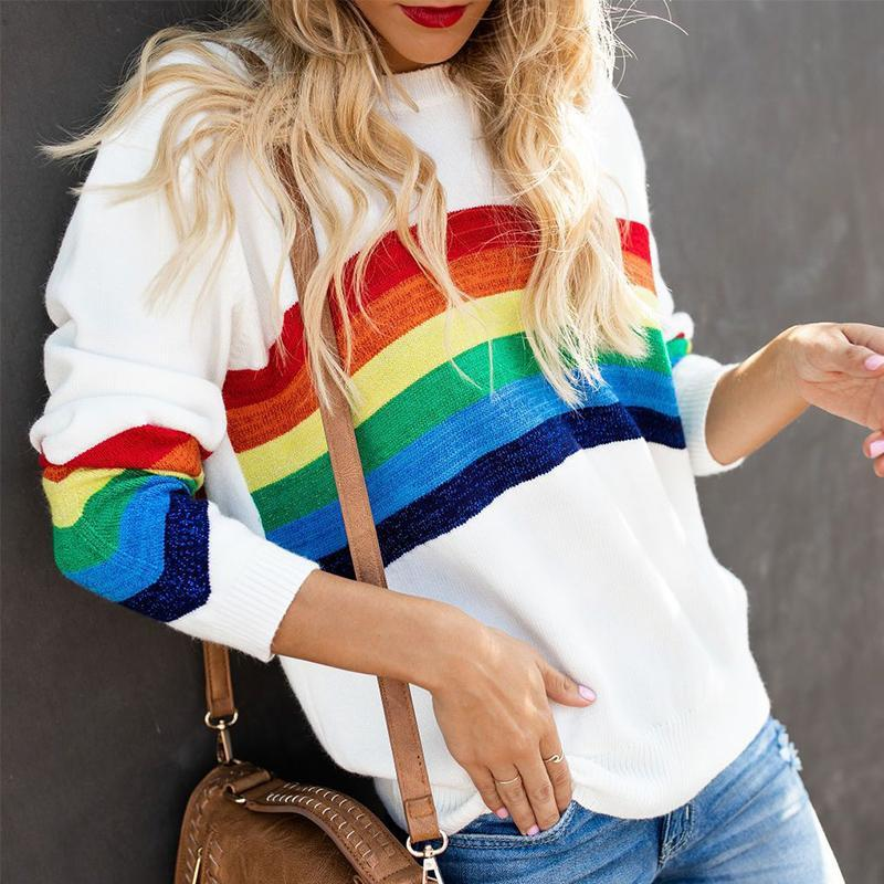 Round Neck Long Sleeve Colorful Stripes Knitting Sweaters
