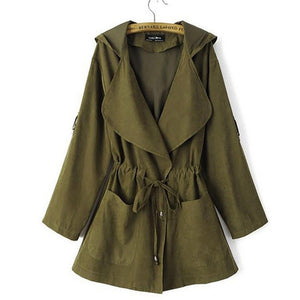 Autumn And Winter Hooded Thin Windbreaker Long Coat