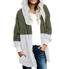 Load image into Gallery viewer, Hooded Long Sleeve Color Block Pocket Fashion Coats